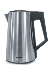 Arshia Electric Stainless Steel Cordless Kettle, 1800W, EK133, Silver/Black