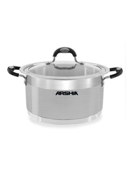 Arshia 22cm Stainless Steel Casserole with ST Glass Lid, 57 x 29.2 x 64.5cm, Silver