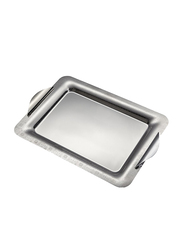 Arshia 2-Piece Large Stainless Steel Rectangle Serving Tray Set, 57 x 31.2 x 38.5cm, Silver