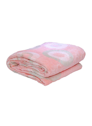 Silksaa 3D Printed Flannel Bed Blanket, 200 x 220cm, Peach, Double
