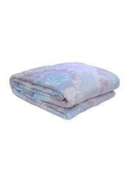 Silksaa 3D Printed Flannel Bed Blanket, 200 x 220cm, Purple/White/Blue, Double
