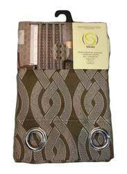 Silksaa Signature Collection Jacquard Window Curtain, Brown