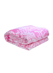 Silksaa 3D Printed Flannel Bed Blanket, 200 x 220cm, Pink, Double