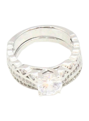 Florence Collection Rhodium Wedding Ring for Women with Zircon Stone Studded, Silver, Free Size