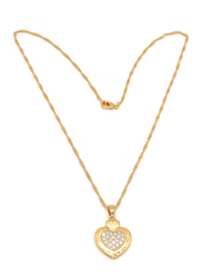 Florence Collection Gold Plated Copper Necklace for Women, with Cubic Zirconia Stone and Two Hearts Pendant, White/Gold