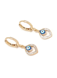 Florence Collection 2-Piece Gold Plated Teardrop Evil-Eye Protection Necklace and Earrings Jewellery Set for Women, with Cubic Zirconia Stone, Blue/Gold