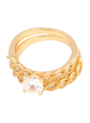 Florence Collection 18k Gold Braid Design Wedding Ring for Women with Zircon Stone Studded, Gold, Free Size