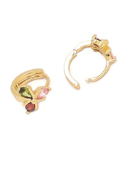Florence Collection Gold Plated Copper Three Petal Flower Huggie Clip Earrings, with Multi Stones, Green/Red/Pink/Gold