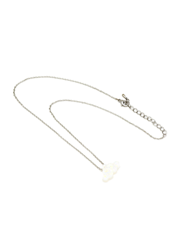 Florence Collection Silver Plated Copper Cloud Pendant Necklace for Women, with Opal Stone, White/Silver
