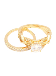 Florence Collection Crown Jewel Design Wedding Ring for Women with Zircon Stone Studded, Gold, Free Size