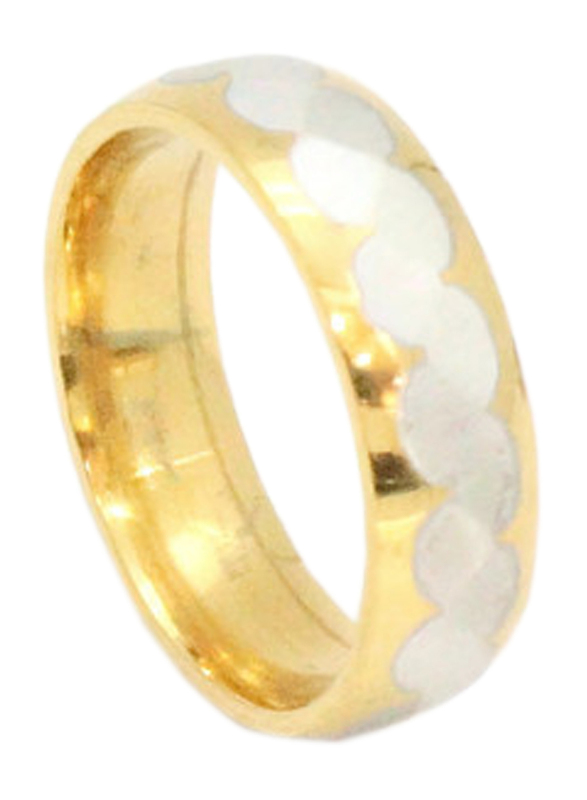 Florence Collection Two Tone Stainless Steel Round Ring for Men, Gold, Free Size