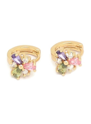 Florence Collection Gold Plated Copper Flower Shape Crystal Huggie Clip Earrings for Women, with Multi Stones, Pink/Purple/Green/Gold