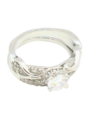 Florence Collection Crown Jewel Design Rhodium Wedding Ring for Women with Zircon Stone Studded, Silver, Free Size