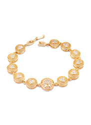 Florence Collection 18K Gold Link Bracelet for Women with Heart Embossing's Cubic White Stone Fillings and Netted Geometric Design, Gold