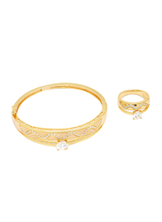 Florence Collection 2-Piece 18K Gold Latest Design Bracelet and Ring Set for Women with Sparkly White Cubic Stones, Gold