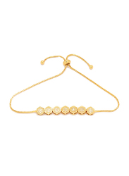 Florence Collection 18k Gold Plating Adjustable Chain Bracelet for Women with Geometric Charm Design and Faceted White Cubic Stones, Gold