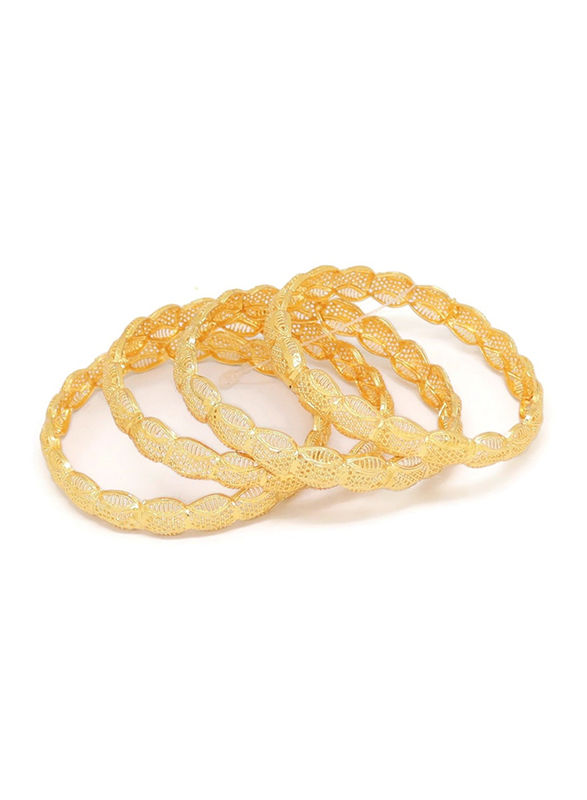 Florence Collection 4-Pieces Gold Plated Copper Star Filigree Bangle Bracelet for Women, White/Gold