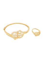 Florence Collection 2-Piece 18k Gold Plating Bangle Bracelet and Ring Set for Women with Cubic Stones and Leaf Design, Gold