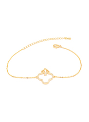 Florence Collection 18k Gold Plating Slider Bracelet for Women with Embedded Series of White Cubic Stones, Sleek Crown Design and Lobster Claw Clasp, Gold