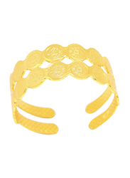 Florence Collection 18k Gold Plating Coin Cuff Bangle Bracelet for Women, Gold