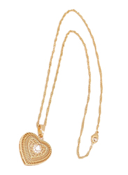 Florence Collection Gold Plated Copper Full of Love Pendant Necklace for Women, with Cubic Zirconia Stone, Gold/White