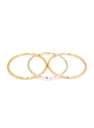 Florence Collection 3-Piece 18k Gold Plating Bangle Bracelet Set for Women with Classic Design Embossing's, Silver/Gold/Rose