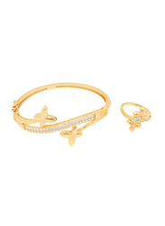 Florence Collection 2-Piece 18K Gold Bracelet and Ring Set for Women with Sparkly White Cubic Stones and Leaf Design, Gold