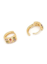 Florence Collection Gold Plated Copper Six Round Shape Crystal Huggie Clip Earrings for Women, with Multi Stones, Red/Green/Pink/Purple/Gold