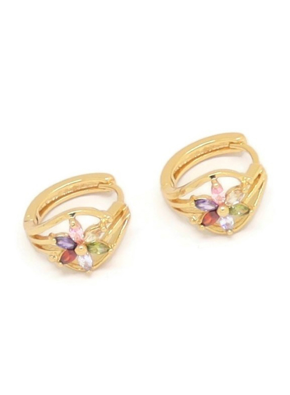 Florence Collection Gold Plated Copper Six Petal Flower Huggie Clip Earrings for Women, with Multi Stones, Green/Pink/Purple/Red/Gold