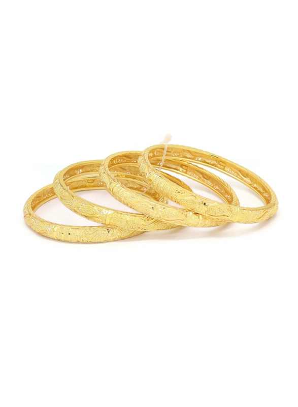 Florence Collection 4-Pieces Gold Plated Copper Flower Bangle Bracelet for Women, Yellow Gold