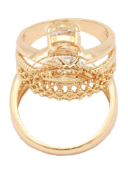 Florence Collection Criss Cross Design Gold Wedding Ring for Women with Zircon Stone Studded, Gold, Free Size