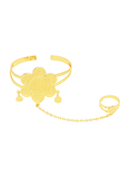 Florence Collection 18k Gold Plating Cuff Bracelet for Women with Seminal Star Design and Ring Attached, Gold