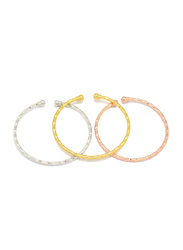 Florence Collection 3-Piece 18k Gold Plating Bangle Bracelets Set for Women with Rope Style Twisted and Sophisticated Design Small Ball Terminals on Either End, Gold/Silver/Rose Gold