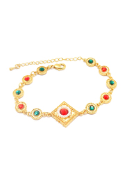Florence Collection 18K Gold Geometric Charms Design Link Bracelet for Women with Beautiful Pearls and Multi-Colored Gemstones, Gold
