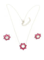 Florence Collection 2-Pieces Silver Plated Copper Daisy Flower Necklace and Earrings Jewelry Set for Women, with Diamond, Pink/Silver