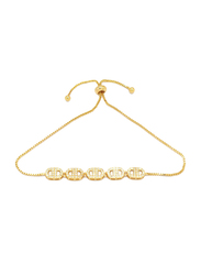 Florence Collection 18k Gold Plating Adjustable Chain Bracelet for Women with Faceted White Cubic Stones and Geometric Design, Gold