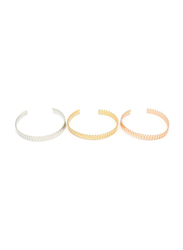 Florence Collection 3-Piece Branch Leaf Copper Cuff Bracelet for Women, Silver/Gold/Rose Gold