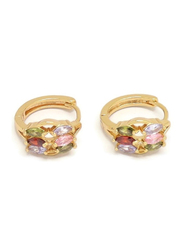 Florence Collection Gold Plated Copper Six Ellipse Shape Crystal Huggie Clip Earrings for Women, with Multi Stones, Red/Green/Pink/Gold