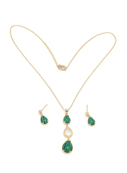 Florence Collection 2-Piece Gold Plated Emerald Trio Teardrop Necklace and Earrings Jewellery Set for Women, with Cubic Zirconia Stone, Green/Gold