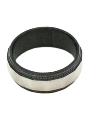 Florence Collection Two Tone Stainless Steel Round Ring for Men, Black/Silver, Free Size