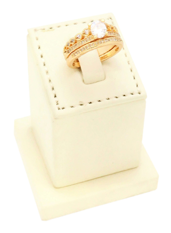 Florence Collection 18k Gold Pebble Design Wedding Ring for Women with Zircon Stone Studded, Gold, Free Size