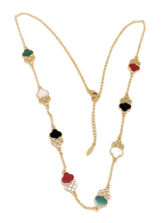 Florence Collection Gold Plated Copper Twin Trefoil Chain Necklace for Women, with Ruby and Emerald Stones, Multicolor
