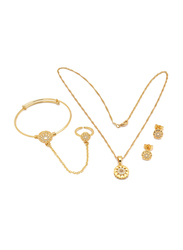 Florence Collection 3-Pieces 18K Gold Plated Jewellery Set for Girls, with Earrings, Bracelet, Ring and Necklace with Geometric Design, Gold