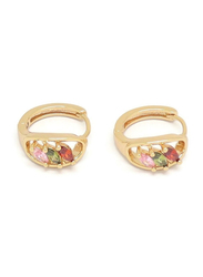 Florence Collection Gold Plated Copper Three Ellipse Shape Crystal Huggie Clip Earrings for Women, with Multi Stones, Red/Pink/Green/Gold