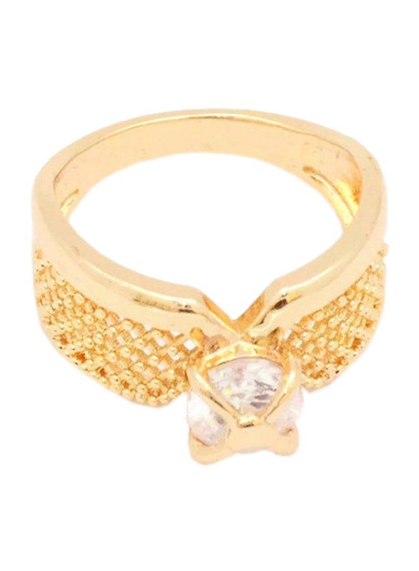 Florence Collection 18k Gold Criss Cross Design Wedding Ring for Women with Zircon Stone Studded, Gold, Free Size