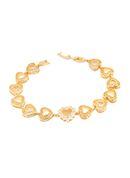 Florence Collection 18K Gold Link Bracelet for Women with Cubic White Stones Fillings and Netted Heart Design, Gold