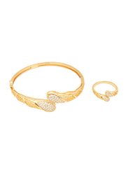 Florence Collection 2-Piece 18K Gold Design Bracelet and Ring Set for Women with Sparkly White Cubic Stones, Gold