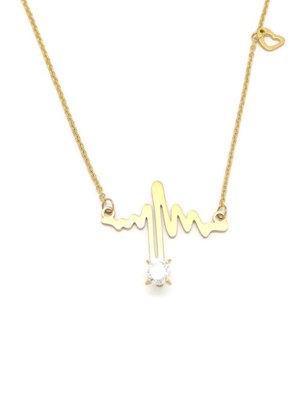 Florence Collection 2-Pieces Gold Plated Copper Lifeline Pulse Heartbeat Necklace and Earrings Jewelry Set for Women, with Diamond, White/Gold