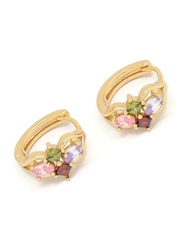 Florence Collection Gold Plated Copper Oval & Diamond Shape Huggie Clip Earrings, with Multi Stones, Green/Pink/Red/Gold