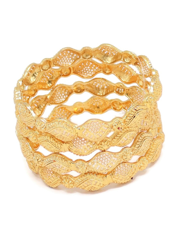 Florence Collection 4-Pieces Gold Plated Copper Floral Filigree Bangle Bracelet for Women, White/Yellow Gold